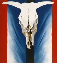 """Cow's Skull: Red, White, and Blue"" 1931 Georgia O'Keeffe. Oil on canvas; 39 x 35 in.) Alfred Stieglitz Collection, The Metropolitan Museum of Art, New York. Georgia O'keeffe, Alfred Stieglitz, Wisconsin, Georgia O Keeffe Paintings, Munier, Into The West, Skull Painting, Blue Painting, Mystique"