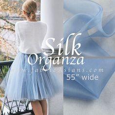 Tutu fabric Dusty Blue Silk Organza 55 wide by fabricAsians