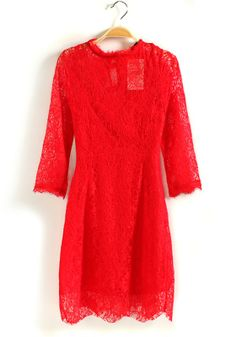 Red Buttons Hollow-out Long Sleeve Lace Dress