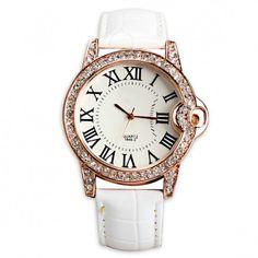 7c9e0f7bba3 Glittering Roman Numerals Rhinestone Girl Wrist Watch Quartz White Girls  Wrist Watch