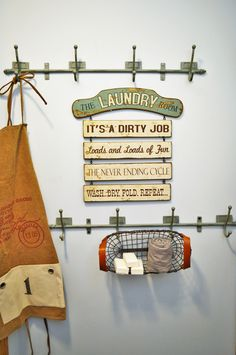 This wooden laundry room sign tells it like it is, but we can't hide from it, might as well embrace it! Each section detaches from the next so you can choose to display all or just one saying at a time. Baskets do not always have to sit on a shelf or table top. Hang one on the wall or a set of hooks like we did here for more vertical storage options!