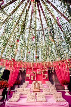 Floral dome with hanging floral for a mandap setup Indian Wedding Theme, India Wedding, Indian Wedding Planning, Wedding Themes, Wedding Ideas, Wedding Goals, Wedding Story, Wedding Events, Wedding Hairsyles