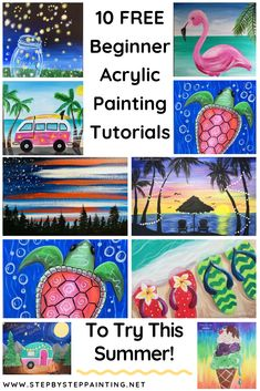 Step By Step Painting With Tracie Kiernan 10 Summer Acrylic Painting Tutorials Step By Step Painting Acrylic Painting Acrylic acrylic painting Kiernan Painting Step Summer Tracie Tutorials Canvas Painting Tutorials, Easy Canvas Painting, Acrylic Painting For Beginners, Summer Painting, Time Painting, Step By Step Painting, Beginner Painting, Painting Lessons, Painting For Kids