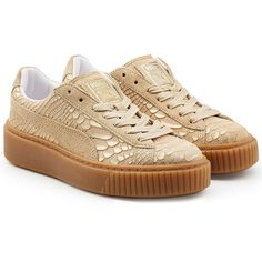Puma Textured Leather Creeper Sneakers (2,395 MXN) ❤ liked on Polyvore featuring shoes, sneakers, white, white platform trainers, urban footwear, platform sneakers, urban shoes and white platform sneakers