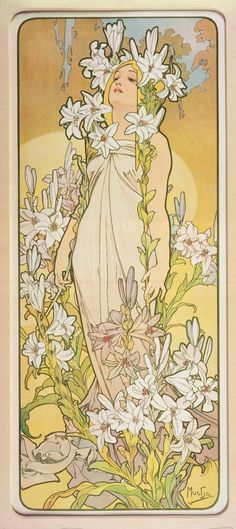 "Lily: 1898 by Alphonse Mucha - from ""The Flowers Series"" - Color lithograph -   Art Nouveau"