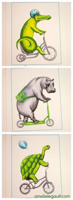 Crocodile, hippo and turtle riding bicycle, cycling animals print 8x10, $12.00 each or 3 for 30.00$  by Amélie Legault on Etsy Click here to buy:  https://www.etsy.com/ca/listing/218406322/hippo-riding-scooter-cycling-hippo-print?ref=shop_home_active_14 #hippo #crocodile #turtle #tortue #amelielegault #print #bicycle #scooter #trottinette #forkid