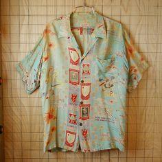 【HawaiianTogs】50sビンテージ古着HAWAII製25歩兵師団トロピカルライトニング総柄ハワイアン・アロハシャツ Aloha Shirt, T Shirt, Mens Sweatshirts, Summer Looks, Hawaiian, Style Me, Tunic Tops, Mens Fashion, Kustom