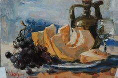 Дыня и виноград, х/м, 40x50