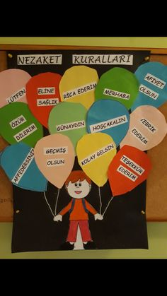 Nezaket kuralları - Computer Tutorial and Ideas Crafts For Kids, Arts And Crafts, Paper Crafts, Diy Crafts, Aquarium Craft, Welcome Back To School, Teachers' Day, Classroom Door, Pre School