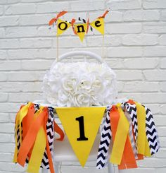 Construction Birthday banner set  1st boy birthday by BannersAway