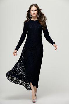 Women Lace Dress Vintage Black Loose Long Sleeve For Ball Gown Elegant Lady Party Vestidos De Fiesta