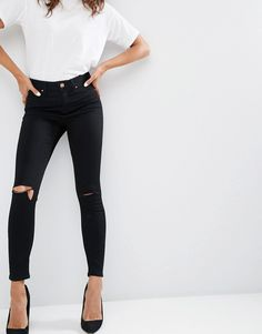Image 1 of ASOS Ridley Skinny Jeans In Clean Black With Rips