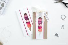 Eine Ziehkarte für einen Gutschein, welche mit der Produktreihe Genussmomente (Stempelset Eis, Eis Baby) von Stampin' Up! gestaltet wurde.