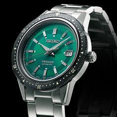 Der Crown Chronograph, Japans erste Armbanduhr mit Stoppuhrfunktion, wurde 1964 für die olympischen Spiele entwickelt. Jetzt bringt Presage, das den japanischen Sinn für Ästhetik mit traditioneller Handwerkskunst und Seikos Können bei der Herstellung mechanischer Uhren kombiniert, ein limitiertes Modell heraus, das dem Design des Crown Chronographen huldigt. In Anerkennung an dieses historische Ereignis ist die Presage auf 1'964 Exemplare limitiert. Seiko Presage, Japan, Chronograph, Rolex Watches, Interiordesign, Accessories, Olympic Games, Pointers, Bracelet Watch