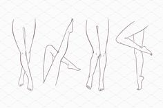 Set of 8 various female pairs of legs. Hand drawn outline woman foot in different poses. Black and white vector illustration. To work with the files of the set, Drawing Legs, Feet Drawing, Drawing Body Poses, Drawing Reference Poses, Art Reference, Illustration Techniques, Illustration Sketches, Art Drawings Sketches, Drawing Techniques