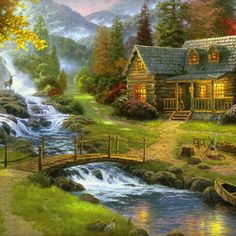 Thomas Kinkade ~ Lakeside Cabin