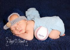 Baseball Cap Hat Baby Boy Newborn Photo Prop