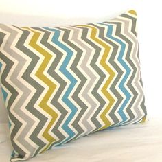 Blue Grey Lumbar Pillow Cover - 12x20, 14x20 or 16x20 inch Chevron Travel Cushion Cover - Blue Citrine-Yellow Grey Zig Zag by PureHomeAccents on Etsy https://www.etsy.com/listing/167517859/blue-grey-lumbar-pillow-cover-12x20