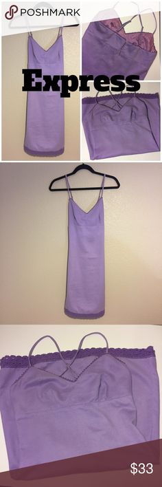 EXPRESS LAVENDER DRESS Size 5/6. Suede like feel. Gorgeous lavender summer dress with lace detail. Adjustable straps that cross in the back. Hidden lavender metal zipper. Express Dresses Mini