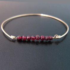 Gold or Silver Garnet Bracelet Red Garnet Jewelry by FrostedWillow, $24.95