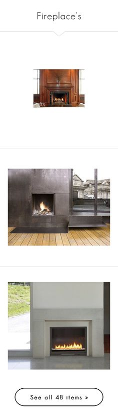 """Fireplace's"" by tenasta ❤ liked on Polyvore featuring rooms, fireplaces, interior, backgrounds, home, home decor, fireplace accessories, grey home decor, gray home decor and gas jeans"