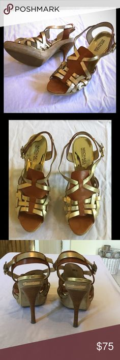 Authentic Brown and Gold Strappy Heels Authentic Michael Kors heels in near perfect condition.  No flaws.  Minimal signs of wear. Michael Kors Shoes Heels