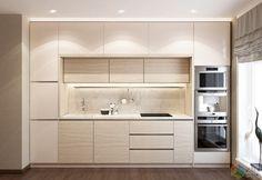 Напольные шкафы по бокам делают кухонный гарнитур компактным. Трубы и счетчики находятся слева, а справа расположена вся необходимая бытовая техника.   Узнать информацию о стиле «контемпорари», как он выглядит и кому подойдет можно на нашем сайте.