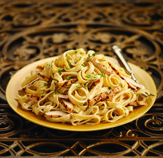 Indulge in the delicious, classic Italian, pasta dish: Chicken Fettuccine. Details: Fettuccine with sliced chicken and choice of alfredo sauce or imported italian pesto cream sauce.