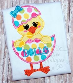 Girl Chick in Easter Egg Applique Digital Machine Embroidery Applique Design 4 Sizes, easter chick applique, chick in egg applique