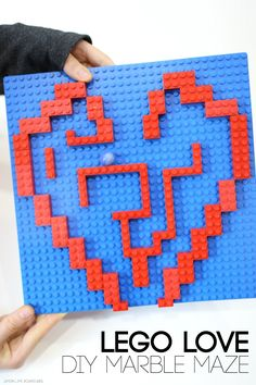 Lego Love Diy Marble Maze Great for Engineering and Busy Fingers Valentine Crafts For Kids, Valentines Day Activities, Valentines Diy, Kids Crafts, Lego Activities, Fun Activities For Kids, Lego Maze, Marble Maze, Games