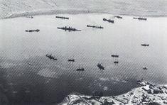 British ships under attack at Suda Bay Crete 1941