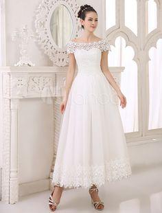 Ivory A-line Bateau Neck Lace Ankle-Length Tulle Bridal Wedding Dress