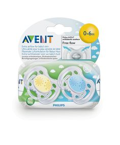 Avent Free Flow Orthodontic Soothers 0-6 months - 2 Pack - soothers and teethers - equipment - feeding & safety