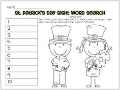 St. Patrick's Day Sight Word Search FREEBIE!!  Lanier's Lions blog!