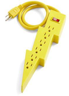 Lightning Bolt Power Strip by Kikkerland Design.