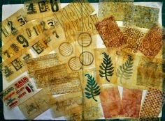 Teabag stamping on recycled teabag papers by LuAnn Kessi