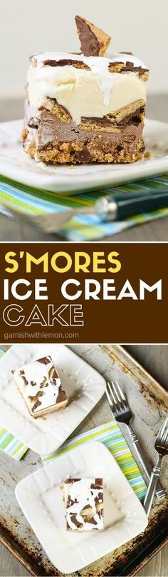 This S'mores Ice Cream Cake is the perfect sweet treat for any summer gathering! All the s'mores goodness without the mess!: