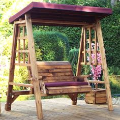 Buy the Charles Taylor Dorset 2 Seater Wooden Swing - Burgundy at Robert Dyas online. Wooden Swing Chair, Wooden Garden Swing, Swing Table, Garden Swing Seat, Wooden Swings, Swinging Chair, Porch Swing, A Table, Front Porch