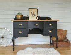 Vintage Provincial Black Desk or Dresser with Timber Top. www.rawrevivals.com.au