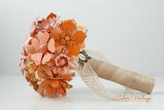 Bouquet en tonos naranjas y melocotones de Color Vintage. www.decolorvintage.blogspot.com/es