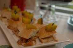 Bridal Shower finger food- BBQ pork sliders with orange marmalade.