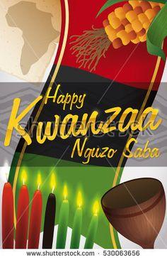 Traditional colorful kwanzaa flag with greeting message about the traditional colorful kwanzaa flag with greeting message about the nguzo saba or seven principles of kwanzaa vector illustration happy kwanzaa m4hsunfo