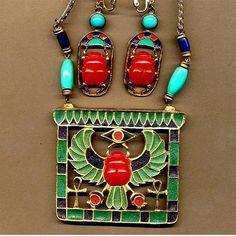 Hattie Carnegie Egyptian Revival Scarab Necklace & Earrings