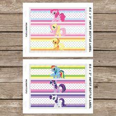 Mi Little Pony cumpleaños fiesta agua etiquetas de por mummytofu