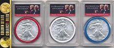 a 2017 silver eagle 3 coin set pcgs ms70 fs rwb trump pence label 15000 pop