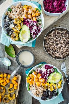 Roasted Rainbow Winter Bowl butternut squash, delicata squash, button mushrooms,beans, lemon tahini, wild rice, avocado and pickled red cabbage