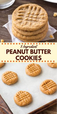 easy cookies These 3 ingredient peanut butter cookies are soft, chewy amp; filled with big peanut butter flavor. They taste just as delicious as classic peanut butter cookies - only they take way less effort to make. Flourless Peanut Butter Cookies, Classic Peanut Butter Cookies, Chocolate Cookie Recipes, Sugar Free Peanut Butter Cookies, Flourless Desserts, Dairy Free Cookies, Recipe With Oats And Peanut Butter, Healthy Cookies, Peanutbutter Cookies Easy