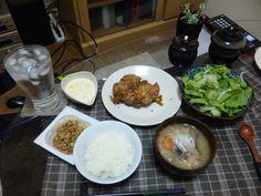 2013/05/06 Chicken nanban チキン南蛮、サラダ、豚汁、納豆