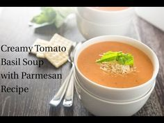 This creamy tomato basil soup with parmesan cheese recipe is the best tomato soup I have ever had. Made with canned whole tomatoes. Plus a recipe video!