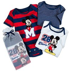 Disney Cuddly Bodysuit Set for Baby Boys - Mickey Mouse -- 3-Pack